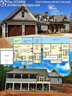 Architectural Designs Craftsman House Plan 92341MX gives you 4 beds - the master on main and 3 kids' bedrooms in the finished lower - and over 3,400 square feet of living. Ready when you are. Where do YOU want to build? #readywhenyouare #homebuild