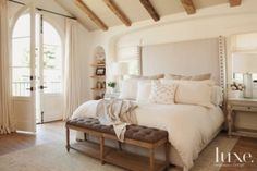 White Traditional Master Bedroom with Upholstered Headboard