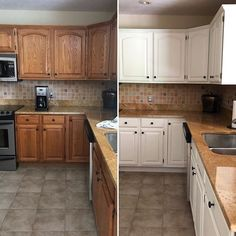 Are you wanting to refresh your dated oak cabinets with paint? Here are some great tips + tricks for painting oak cabinets and giving them a new look! Plywood Cabinets, Painting Oak Cabinets, Built In Cabinets, White Kitchen Cabinets, Kitchen Paint, Kitchen Shelves, New Kitchen, Kitchen Design, Basement Kitchen