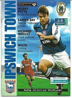 Ipswich Town FC v Reading FC football programme 28th March 1998 ...... #readingfc #ipswichtownfc #footballprogrammes Ipswich Town Fc, Reading Fc, Football Program, Ladies Day, Kicks, March, Baseball Cards, Mac