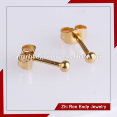 stainless Steel One Body Gold Plated Ball earring Stud