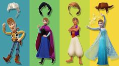 Wrong Hairs Disney Princess Frozen Elsa Anna Aladdin Toy Story Finger Fa...
