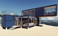 3 Prefabricated/Prefab Modular Movable Container House on The Beach., Find Details about Container House, Prefab House from 3 Prefabricated/Prefab Modular Movable Container House on The Beach. - Jiangxi HK Prefab Building Co. Cargo Container Homes, Shipping Container Home Designs, Building A Container Home, Container Buildings, Container Architecture, Container House Plans, Architecture Design, Shipping Containers, 40ft Shipping Container