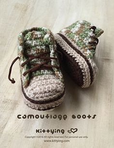 Camouflage Baby Boots Crochet Pattern by Crochet Pattern Kittying from Kittying.com / Mulu.us