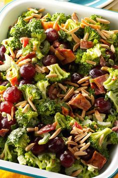 People can't get enough of the sweet grapes and crunchy broccoli in this colorful salad. Plus, you'll appreciate its make-ahead convenience. | Broccoli Salad Supreme Recipe from Taste of Home