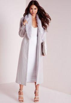 Longline Faux Wool Coat with Faux Fur Collar Grey