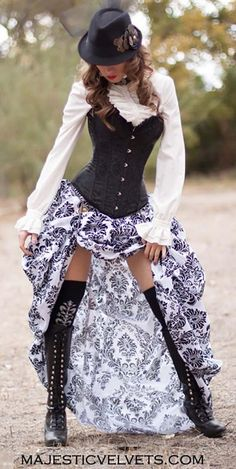 Ready to ship Black Satin Corset with Black & White Damask Bustle Skirt for Steampunk, Victorian, costume, Cosplay dress-up Couture Steampunk, Corset Steampunk, Style Steampunk, Victorian Steampunk, Steampunk Clothing, Steampunk Necklace, Casual Steampunk, Steampunk Cosplay, Steampunk Costume Women