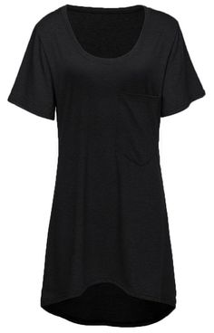 Halife Women's Loose Fit Short Sleeve Scoop Neck Hi Low Tunic Tops with Pocket (XXL, Black)