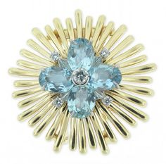 Cartier ~ Yellow gold, Diamonds and Aquamarines Brooch, 1950s