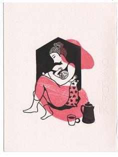 Maternité -  Linogravure réalisée par Evelyne Mary - 30 exemplaires - Signées et numérotées - 18 x 24 cm