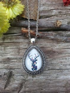 Silver Deer Pendant Necklace Cameo Handmade Floral Fall Jewelry