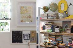 """""""Para hacer la biblioteca aproveché los tablones de la obra de la cocina y encargué dos escaleras laqueadas; ese contrapunto representa el modo en que veo la decoración"""".  /Pompi Gutnisky"""