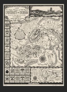 Image of The University of Durham Map (Poster) - Beautiful hand drawn map Durham University, Durham City, Durham Cathedral, Paris Map, City Maps, Cartography, Vintage World Maps, Fine Art Prints, How To Draw Hands