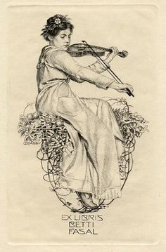 Lady playing a violin  Ex libris by Alfred Cossmann