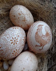 "Etched Brown Chicken Egg with Flower and Vine Design"" by theNestatWindyCorner"
