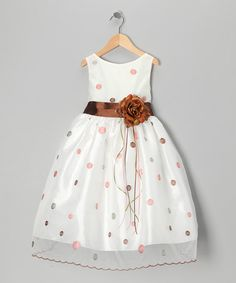 Look what I found on #zulily! Brown & Silver Polka Dot Flower Dress - Toddler & Girls #zulilyfinds