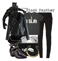 Black Panther (Captain America: Civil War) by claucrasoda on Polyvore featuring polyvore fashion style Balmain Yves Saint Laurent Cartier Valentino Victoria Beckham clothing