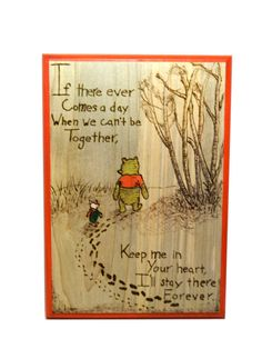 Classic Pooh in Winter Wood Burned and Painted Plaque