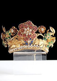 """19th Century Gilt Brass Repousse and Trembleuse Tiara - Width: 5"""", Height: 2""""."""
