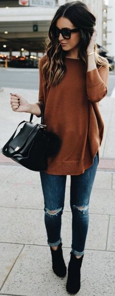 #spring #outfits Brown Knit + Ripped Skinny Jeans + Black Leather Tote Bag + Black Booties