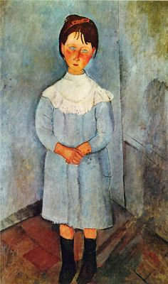 Amedeo Modigliani. Niña de azul, 1918. Óleo sobre lienzo. Colección privada. WikiPaintings.org - the encyclopedia of painting