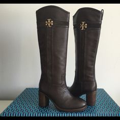 """TORY BURCH DARK BROWN CHUNKY HEEL KNEE BOOTS TORY BURCH DARK BROWN CHUNKY HEEL KNEE BOOTS, SIZE 9.5, WITH ZIPPER CLOSURE AT SIDE AND GOLD LOGO TB, CHUNKY HEIGHT HEEL 3"""", BOOTS SHAFT 15"""", CIRCUMFERENCE 15"""", BRAND NEW WITH BOX AND DUST BAG Tory Burch Shoes Heeled Boots"""