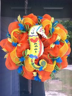 Summer Deco Mesh Wreath with Seahorse in beautiful orange, yellow and blue accents