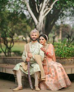 Couple Wedding Dress, Wedding Reception Outfit, Wedding Outfits For Groom, Wedding Lehnga, Groom Wedding Dress, Wedding Couple Photos, Sikh Wedding, Indian Wedding Outfits, Bridal Outfits