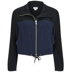 Helmut Lang Women's Solar Drape Jacket - Black/Navy (9.560 RUB) ❤ liked on Polyvore featuring outerwear, jackets, giacche, black, navy blue jackets, funnel neck jacket, zip front jacket, drape jacket and drawstring jacket