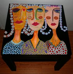 painted table By Rick Cheadle Art and Designs