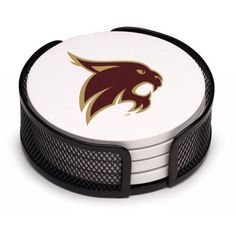 Stoneware Drink Coaster Set with Holder Included, Texas State University, San Marcos, Multicolor