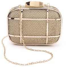 Whiting & Davis Cage Minaudiere Clutch - Gold featuring polyvore, fashion, bags, handbags, clutches, purses, bolsas, gold studded handbag, whiting & davis, whiting & davis handbags, chain handle handbags and minaudiere purse