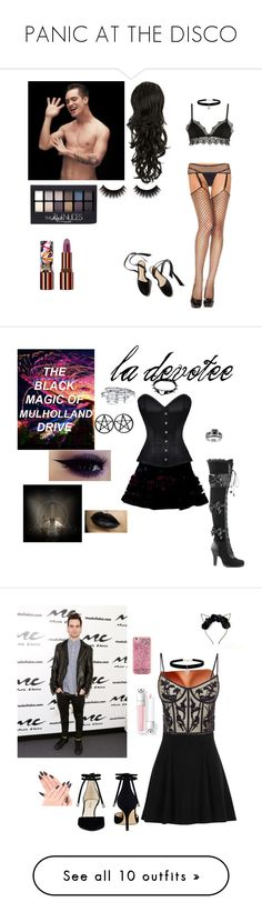 """""""PANIC AT THE DISCO"""" by shyanne-andrade ❤ liked on Polyvore featuring Ermanno Scervino Lingerie, Maybelline, Teeez, Betsey Johnson, Demonia, Bling Jewelry, River Island, Alexander McQueen, Nine West and ban.do"""