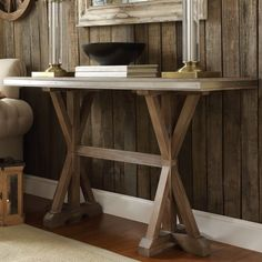 INSPIRE Q Abbott Rustic Stainless Steel Strap Oak Trestle Entryway Sofa Table - Overstock Shopping - Great Deals on INSPIRE Q Coffee, Sofa & End Tables