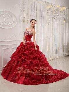 Brand New Wine Red Quinceanera Dress Spaghetti Straps Court Train Organza Beading Ball Gown  http://www.fashionos.com  An elegant and graceful quinceanera gown for any who want to be bright at the party. It features a strap bodice with a sweetheart neckline, pleated waistline and appliques decorated bustline and hemline. The ruched waistline and the lace up back create a flattering silhouette.