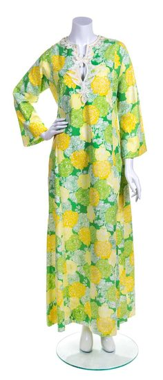 A Lilly Pulitzer Green and Yellow Floor Length Caftan,
