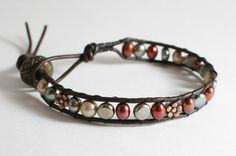 Leather Wrapped Bracelet with Freshwater pearls by DESIGNBYSTARLA, $28.00