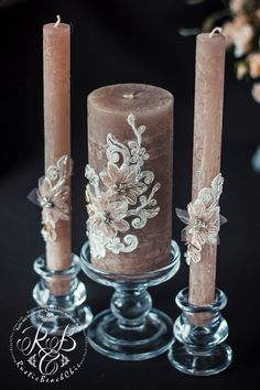 Wedding pillar candles, pink cedar unity candles, rustic chic, cottage, rhinestone and crystals, votive candles, lace, candle set, 3pcs  ♥♥♥♥♥♥♥♥♥♥♥ABOUT THIS ITEM♥♥♥♥♥♥♥♥♥♥♥ ♥THIS ITEM FOR :  - 2 tall tapers - 1 large candle  Height of large candle 5 inch Height tapers - 9 inch Material - paraffin wax  ♥USED MATERIAL - lace, crystals, non-toxic acrylic paint, rhinestone ♥♥♥♥♥♥♥♥♥♥♥DELIVERY AND PRODUCTION TIME♥♥♥♥♥♥♥♥♥♥♥ for the manufacture of your order I will need 7days If you need to…