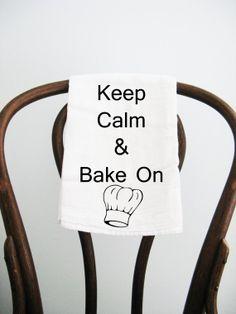 Flour Sack Towel Keep Calm and Bake On by badbatdesigns on Etsy, $10.00