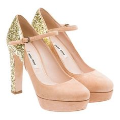 Miu Miu always steals my heart. ALWAYS. Nude pumps with sparkle, how could you go wrong?