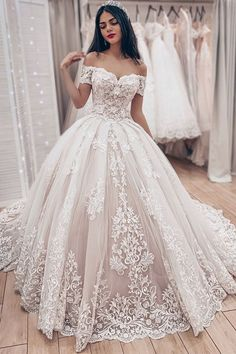 Ball Gown Off The Shoulder Wedding Dress With Lace Appliques, Gorgeous Bridal Dr. Ball Gown Off The Shoulder Wedding Dress With Lace Appliques, Gorgeous Bridal Dress Lace Ball Gowns, Ball Dresses, Dresses Dresses, Vintage Ball Gowns, Big Prom Dresses, Cute Dresses For Weddings, Summer Dresses, Dresses Online, Casual Dresses