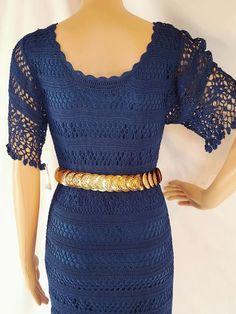 VINTAGE  CROCHET  DRESS  NAVY BLUE GORGEOUS SZ M   Clothing, Shoes & Accessories, Vintage, Women's Vintage Clothing   eBay!