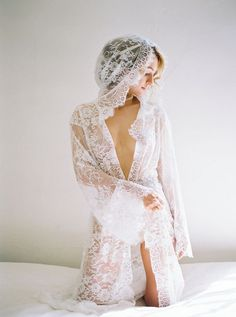 Simple Lace Wedding Boudoir Session Ideas via oncewed.com