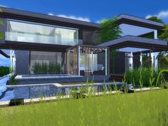 Modern Home featuring kitchen with breakfast bar,dining area,and livingroom.  Found in TSR Category 'Sims 4 Residential Lots'