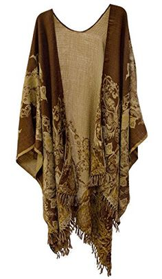 Baroque Paisley Floral Merino Wool Reversible Ruana Cape Jacket Beige Brown Gold Steel Paisley http://www.amazon.com/dp/B018TDB8I2/ref=cm_sw_r_pi_dp_.1Kxwb1S9K91W