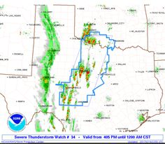 SPC Severe Thunderstorm Watch 34 - http://blog.clairepeetz.com/spc-severe-thunderstorm-watch-34/