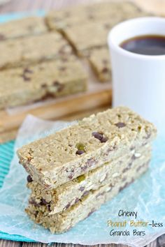 Peanut Butter-free Chewy Granola Bars (nut free gluten free Vegan) A soft chewy granola bar with all the flavor of peanut butter but made nut-free!