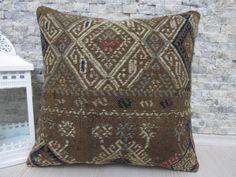 "Organic Wool Pillow Turkish Kilim Pillow 18"" x 18"" Embroidery Design Anatolian Kilim Cushion Pillow Home Decor Outdoor Bohemian Pillow"