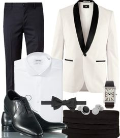 "#DressWell Luxury black tie event | White jacket with black shawl lapels life-style-andlifestyles: "" mrmoderngentleman: A 50s classic turned modern and very smart. The white tuxedo jacket/black..."