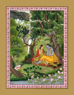 Radha Krishna in a Grove of Vrindavan, Hindu Water Color Painting on PaperArtist:Kailash Raj Pichwai Paintings, Watercolor Paintings, Rajasthani Painting, Mahakal Shiva, Detailed Paintings, Indian Folk Art, Online Greeting Cards, Lord Vishnu, Krishna Art